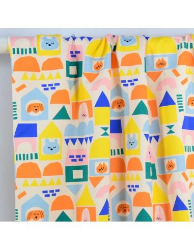 Tissu Jersey Funny Houses - Fabrics...
